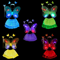 4pcs/lot Shining Butterfly Wing Wand Headband Skirt Cosplay Costume Ballet Dance Clothing For Fairy Girl Kid