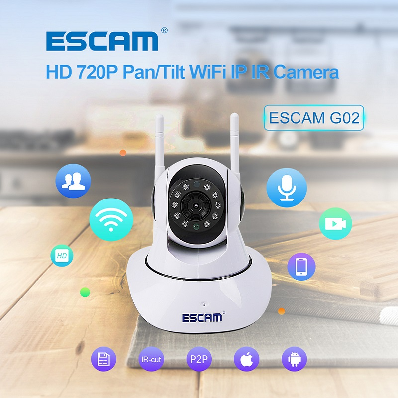 ESCAM ONVIF WiFi IP Camera Wireless P2P Dual Antenna IR Home Security Cctv Video Wi-fi Monitor Max Up to 128GB Micro Sd Card G02 hd 720p wireless ip camera wifi onvif 2 0 4 video surveillance security cctv network wi fi camera infrared ir and with ir cut