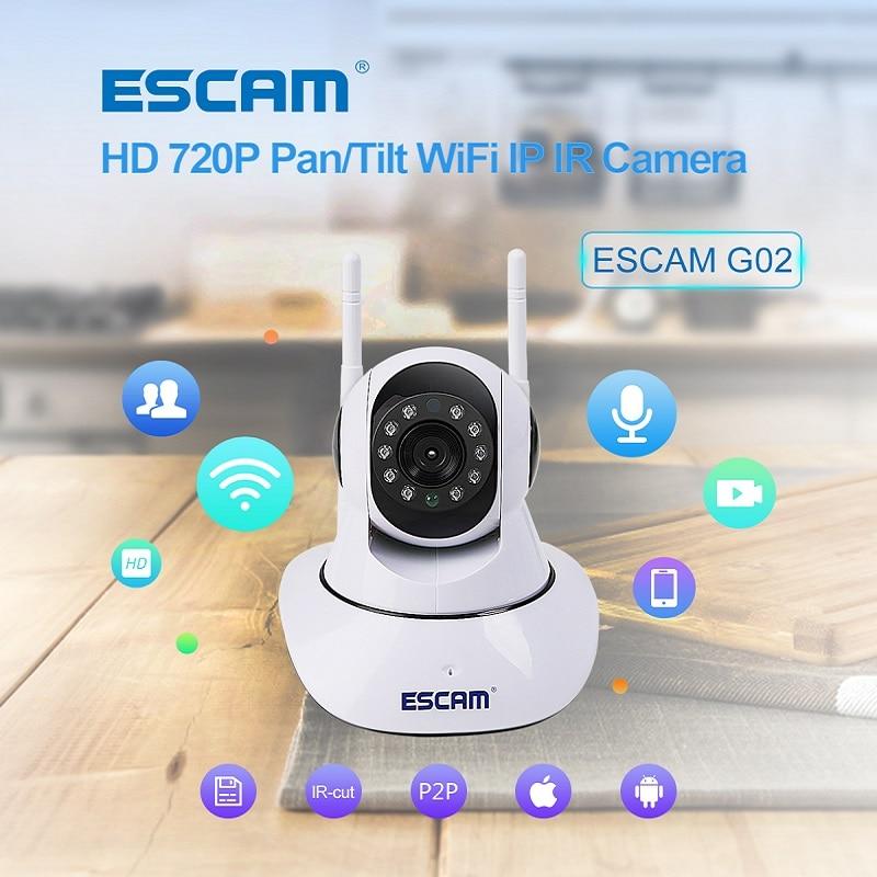 ESCAM ONVIF WiFi IP Camera Wireless P2P Dual Antenna IR Home Security Cctv Video Wi-fi Monitor Max Up to 128GB Micro Sd Card G02