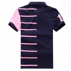 2019 حار بيع جديد الرجال عدن بارك قصيرة بولو قميص مخطط القطن التطريز تيز للرجال Fraench العلامة التجارية زائد حجم XXXL