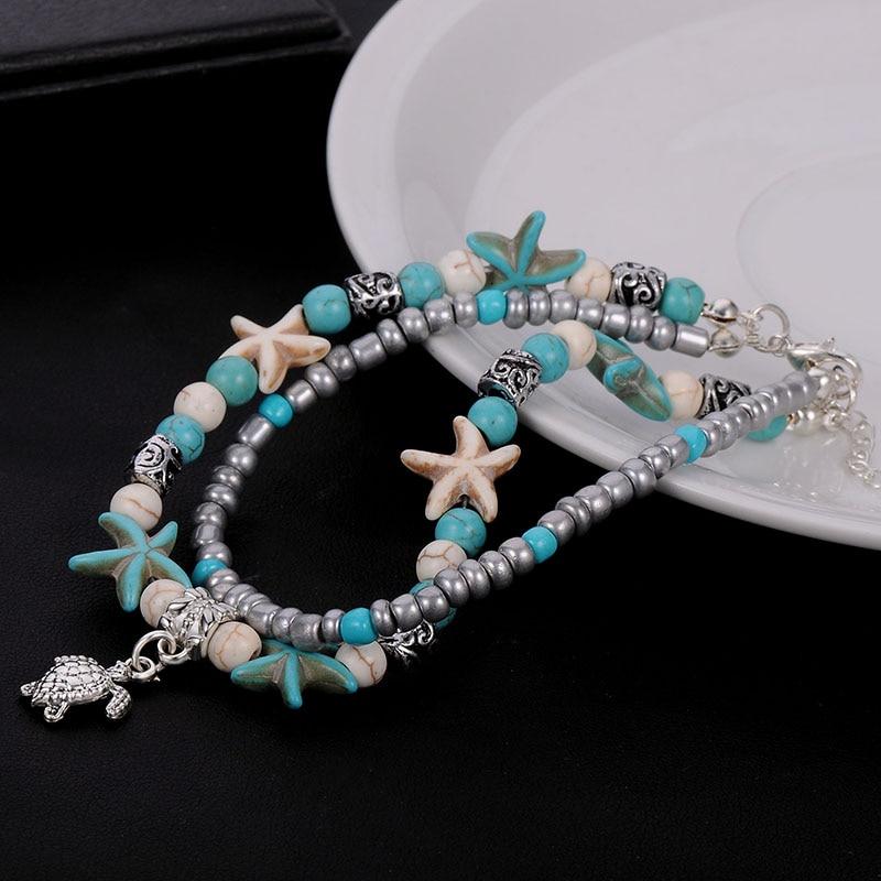 Beagloer Shell Beads Starfish Turtle Anklets Bracelet For  Multi Layer Anklet Leg Bracelet Handmade Bohemian Jewelry Gift 2