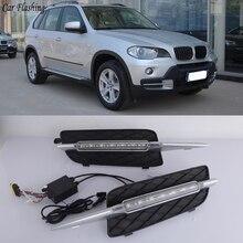 Автомобильная проблесковая 1 пара дневные ходовые огни для BMW X5 E70 2007 2008 2009 2010 Габаритные огни Дневной светильник авто светодиодный противотуманная фара светильник крышка