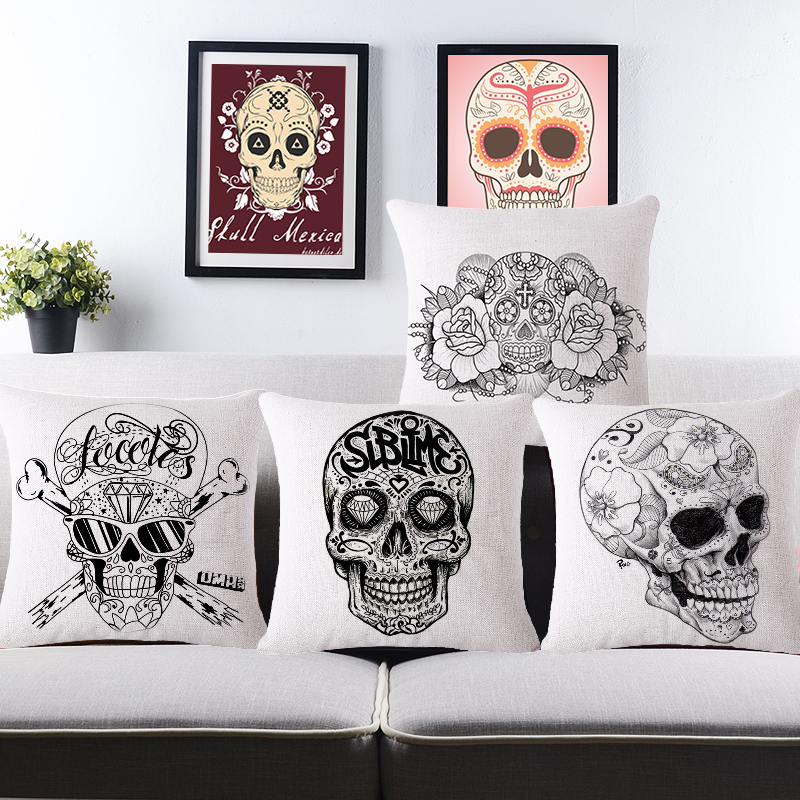 Vintage mexican skull cushion covers for sofa home decor - Fundas para cojines sofa ...