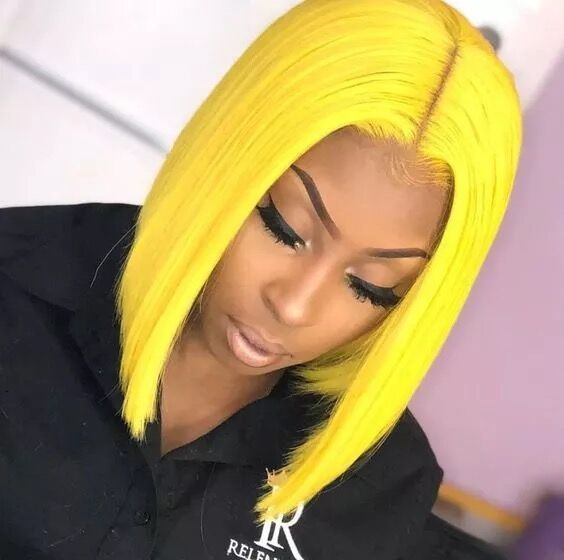 Fantasy Beauty Bob Cut Yellow Synthetic Lace Front Bob Wig Heat