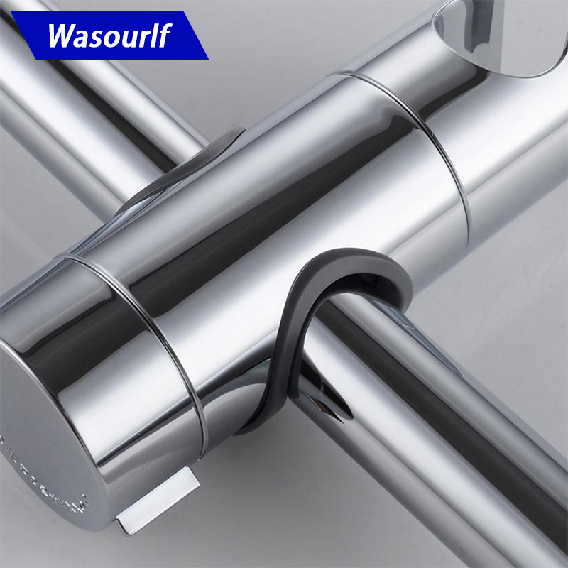 WASOURLF Adjustable Shower Holder Smart Bracket Seat Install To Rail Tube Chrome Plated For Slide Bar Clamp Bathroom Replacement