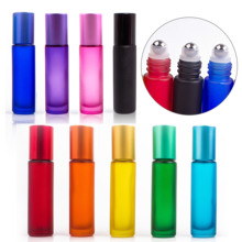 9 colors 10ml Portable Frosted Glass Roller Rollerball Essential Oil Perfume Bottles Mist Container Travel Refillable Bottle