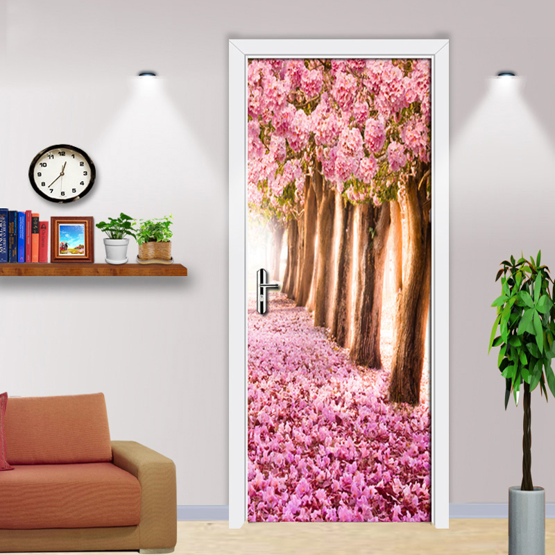 Pink Peach Forest 3D Door Stickers PVC Self-adhesive Waterproof Wallpaper Pink Floral Living Room Decoration Wall Painting MuralPink Peach Forest 3D Door Stickers PVC Self-adhesive Waterproof Wallpaper Pink Floral Living Room Decoration Wall Painting Mural