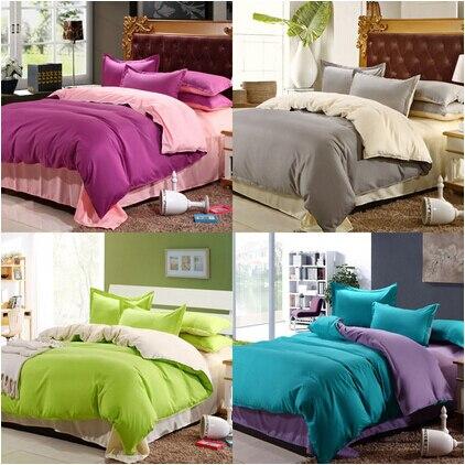 on sale 3 4pcs solid cotton bedding set hotel bedding sets pillow sheets duvet cover king size. Black Bedroom Furniture Sets. Home Design Ideas