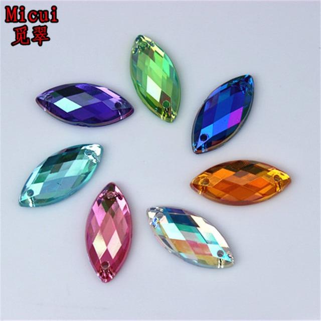 Micui 100PCS 8 18mm AB Acrylic Rhinestones Crystal Flatback Fancy Horse Eye  Gems Stones For Clothes Dress Crafts Sew On ZZ331 e2962b56f1e2