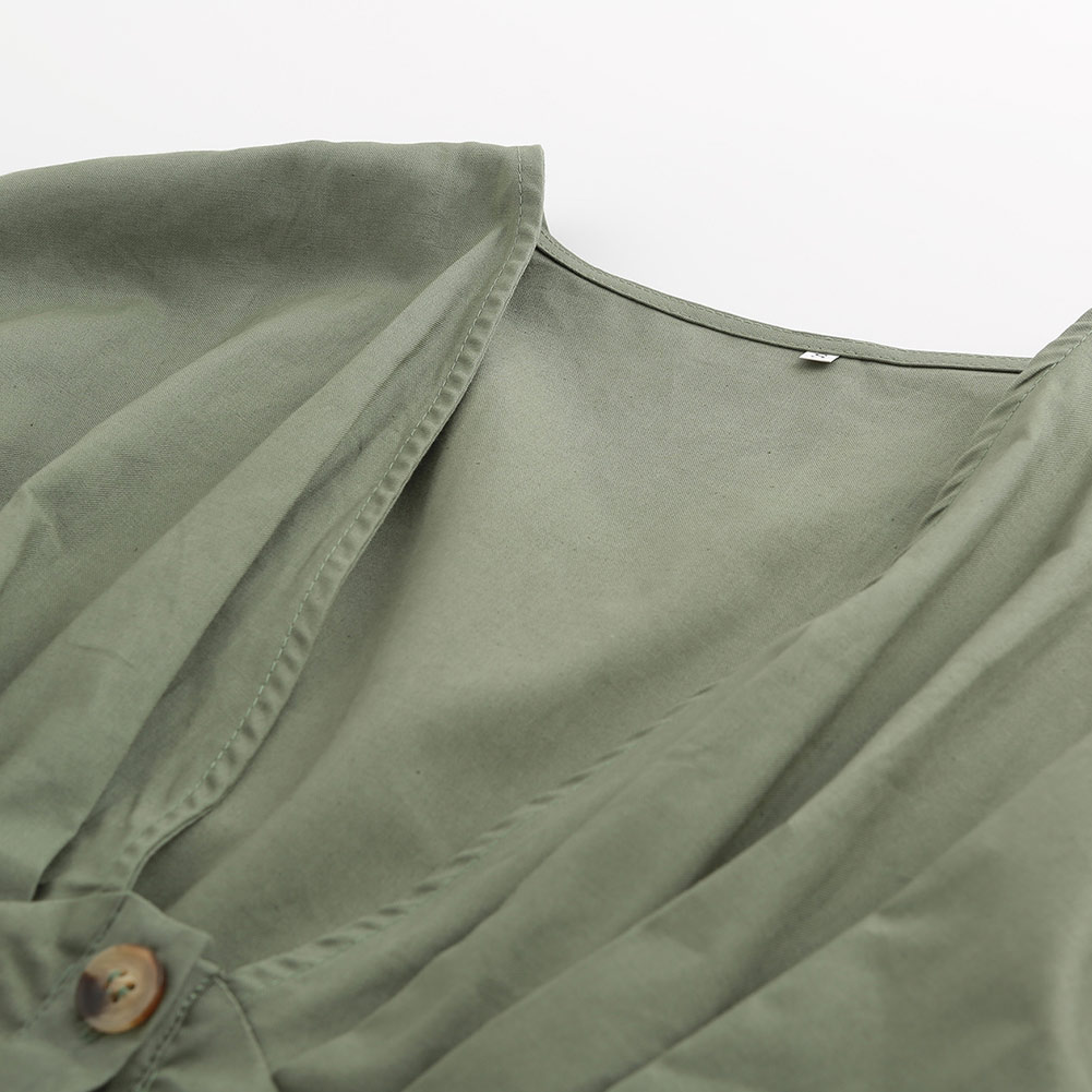 Women Short Sleeves Deep V-neck Jumpsuit Single Button Romper Summer Beach Playsuit Overall -MX8