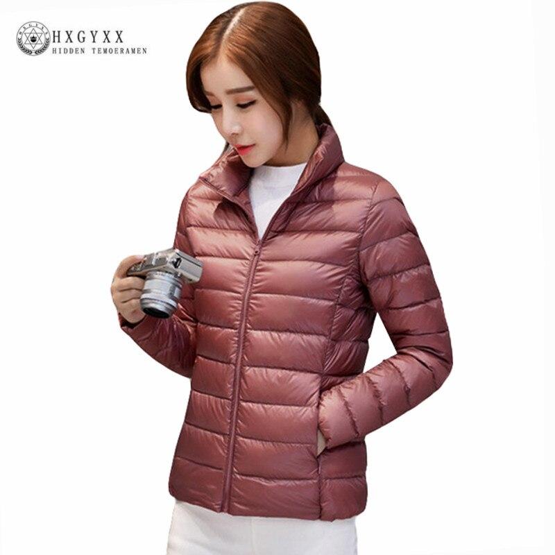 Plus Size 90 % White Duck Down Coat 2018 New Autumn Winter Puffer Jacket Women Ultra Light Solid Color Zipper Warm Parka Ok386