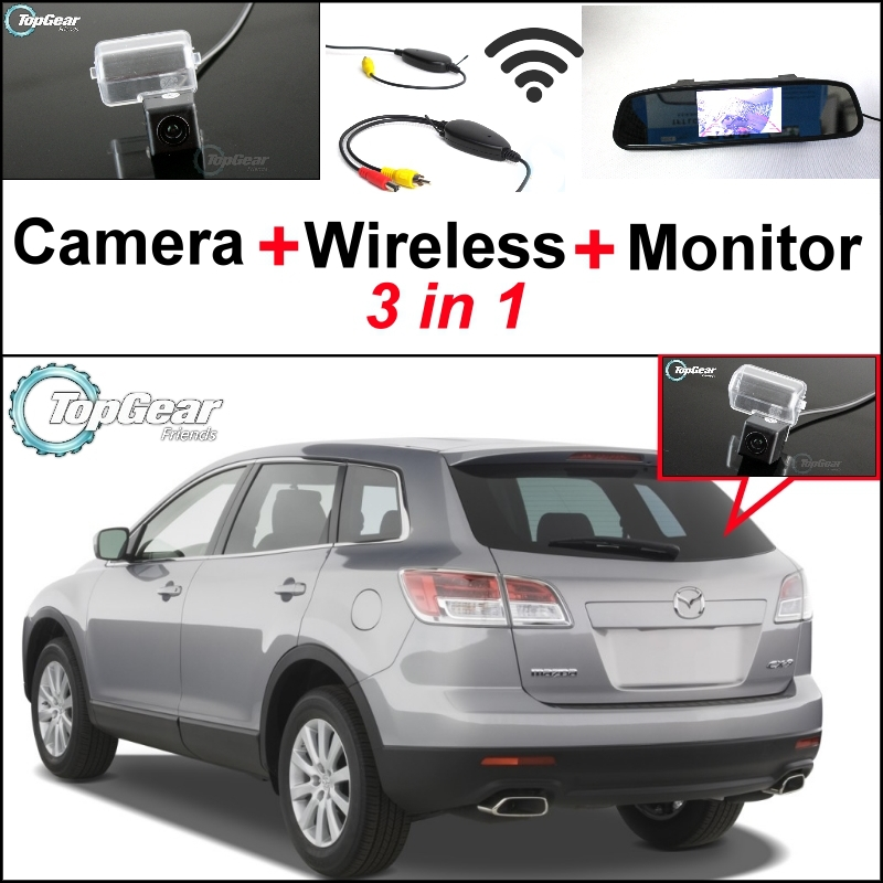 3 in1 Special Camera + Wireless Receiver + Mirror Monitor EASY DIY Back Up Parking System For Mazda CX-9 CX9 CX 9 2007~2014 wireless pager system 433 92mhz wireless restaurant table buzzer with monitor and watch receiver 3 display 42 call button