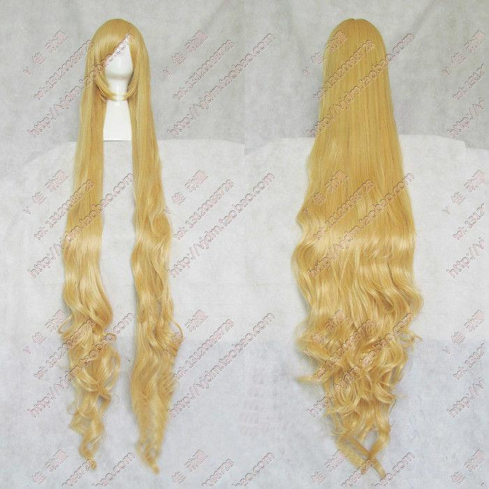 Free Shipping Heat Resistant >>59 inch Rapunzel Custom Styled Mixed blonde wig Style wig 150cm fluffy synthetic lolita curly flax mixed gold long side bang capless cosplay wig for women