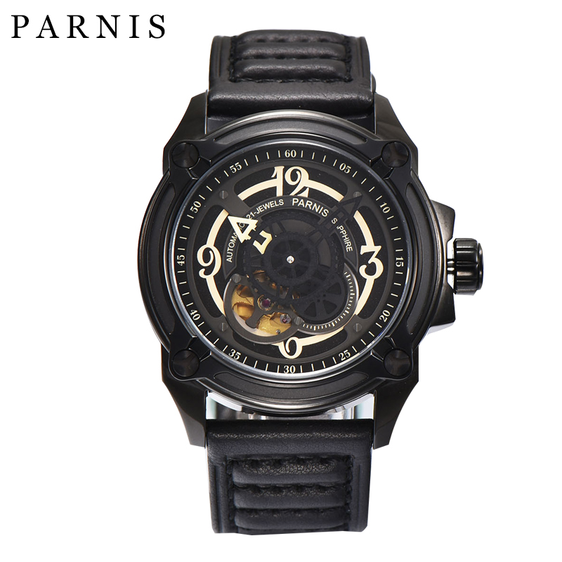 44mm Parnis Skeleton Watch Automatic Mechanical Mens Watches Skeleton Wristwatch Sapphire Crystal 100% Leather 5ATM Miyota825544mm Parnis Skeleton Watch Automatic Mechanical Mens Watches Skeleton Wristwatch Sapphire Crystal 100% Leather 5ATM Miyota8255