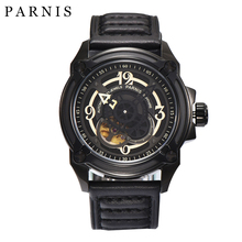 Free Shipping Mens Watch 44mm Parnis Watches Automatic Mechanical Wristwatch Black Dial Sapphire Crystal