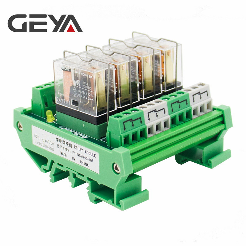 Free Shipping GEYA NG2R 4 Channel Relay Module 1NO 1NC Relay SPDT Module 12V 24V AC DC Omron Relay PLC 5 pcs 1no 1nc spdt ceramic socket 5 pin connecting car relay dc 12v 40 amp
