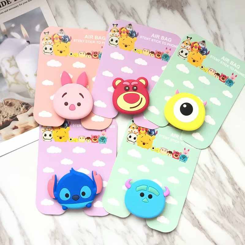 Air bag cell phone bracket Cartoon Stitch Pooh Cat Dog Mickey Minnie Phone  Stand Finger Holder e2dd4b9535fe