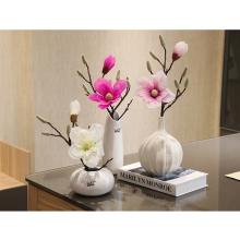 Artificial Magnolia flower Potted set Ceramic vase Small bonsai Simulation plants pot culture desktop wedding Home decoration hydrangea simulation small bonsai set ornaments raw silk qiu ju ceramic vase artificial flowers decoration pot living area meal