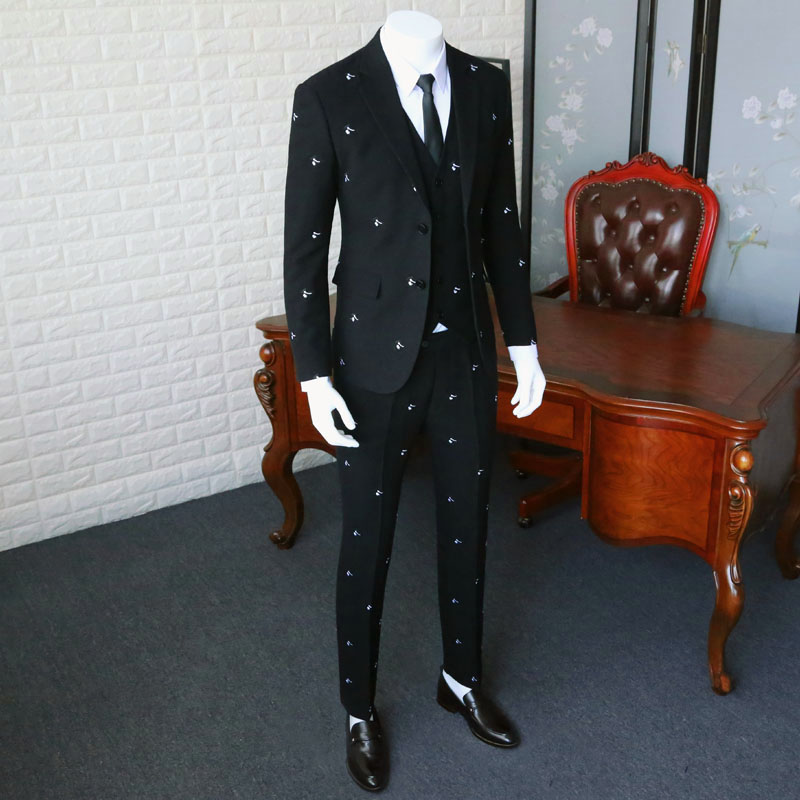 Anti-wrinkle Suit Blazer Slim Fit / Man Pure Black Embroidery Suit Jacket / Men Wedding Dresses Three Pieces Suit 365tz19