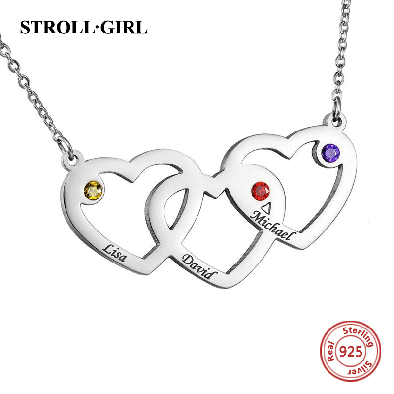 Image 2 - StrollGirl 925 Sterling Silver Engraved 1 5 Intertwined Hearts  Necklace With Birthstones Personalized Name Jewelry For FriendPendant  Necklaces