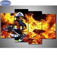 Multi pictures,Stickers,DIY Diamond Painting Cross Stitch Kits Full Diamond Embroidery 5D Square Mosaic Home Decor Fireman/Fire,