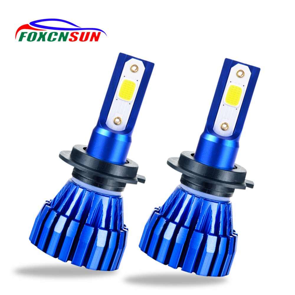 Foxcnsun 2Pcs Mini 6500K 4300K 5000LM COB H1 H4 LED H7 Car Headlight 50W Hi-Lo lights H8  H11 led 12V light bulbs for cars truck