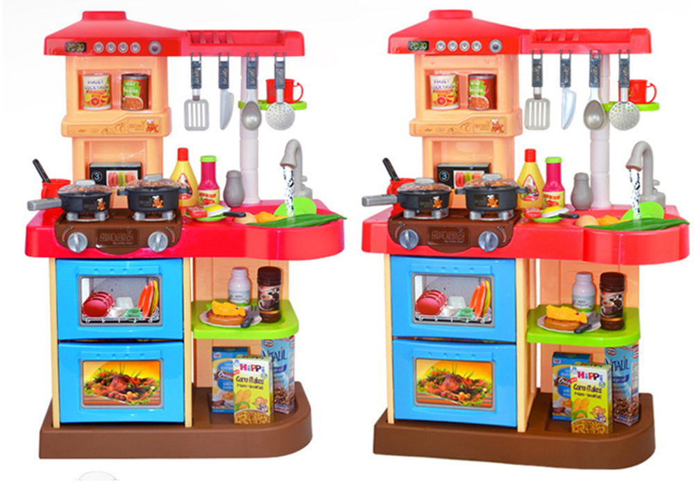 New 2 Types 1 Sets 37 Pcs Kitchen Plastic Pretend Play Food Children Toys With Music And Light Height is about 72 cm Toys Gifts (2)