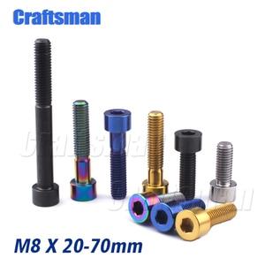 Titanium Ti M8X20 25 30 35 40 45 50 60 70mm Allen Key Socket Head Screw for Bicycle Motorcycle Car Titanium Bolts M8 Motor Parts