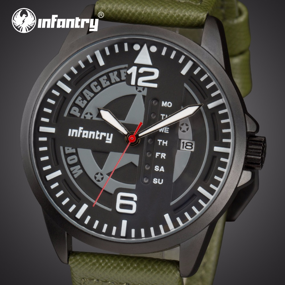 цена на INFANTRY Mens Watches Top Brand Luxury Military Watch Men Luminous Army Tactical Green Leather Watches for Men Relogio Masculino