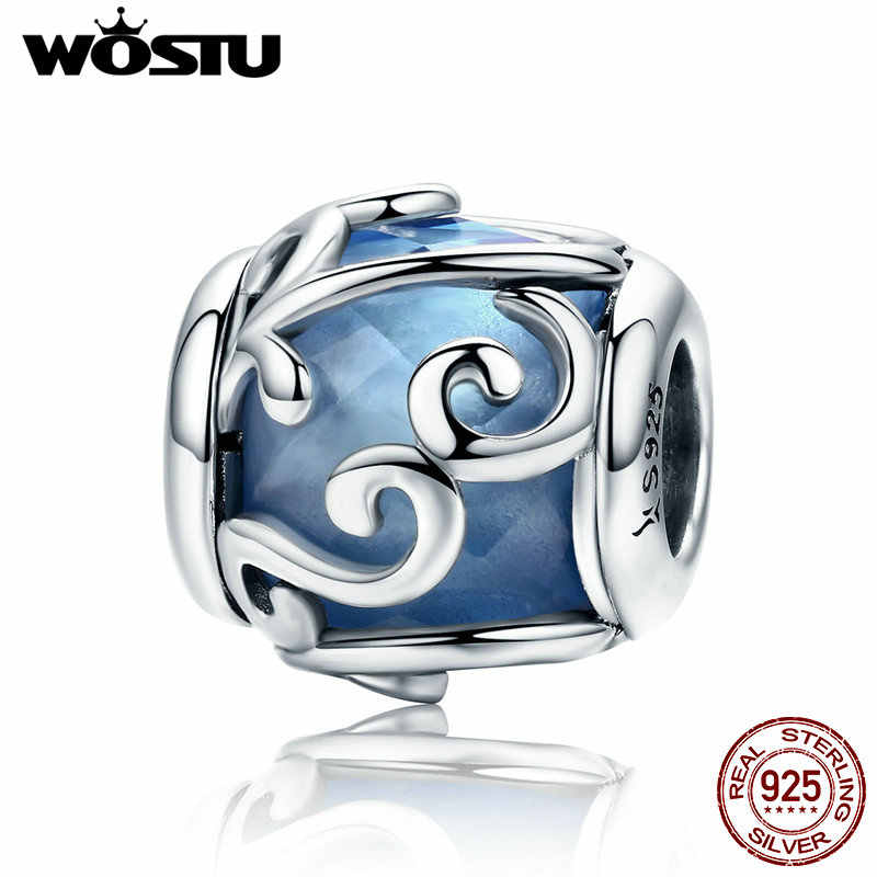 WOSTU 100% 925 Sterling Silber Tanzen Wellen Licht Blau Kristall Stein Charme Perlen fit Frauen Charme Armband DIY Schmuck CQC557