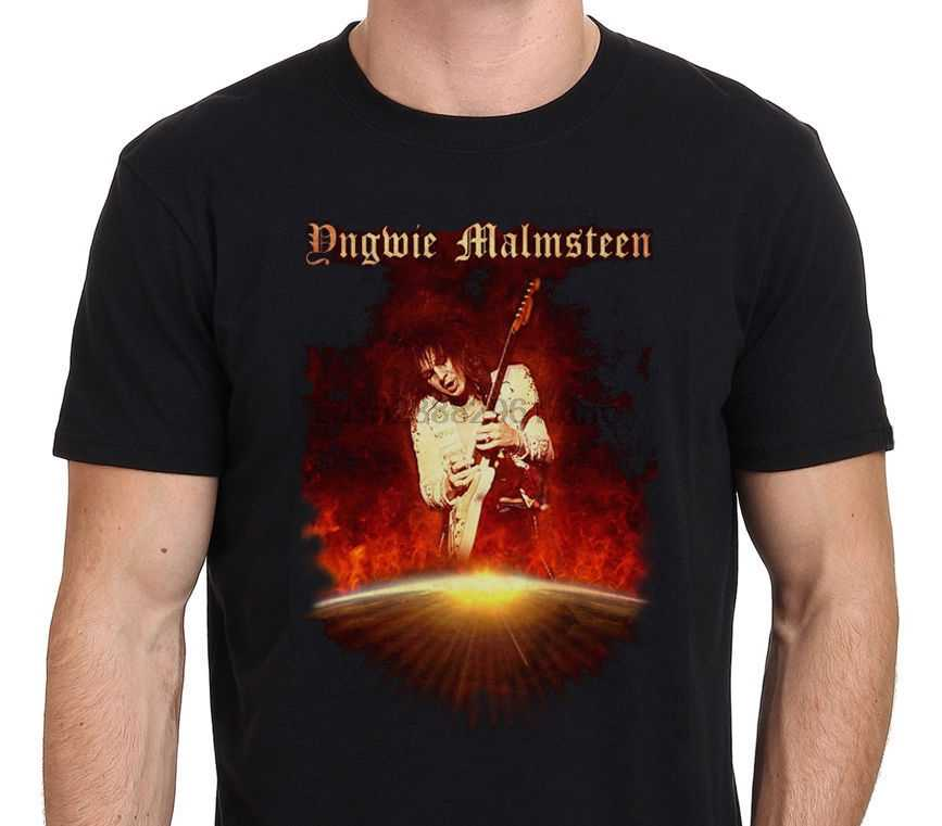 Moda de hombre Yngwie Malmsteen guitarra negro Camiseta talla S-M-L-XL-XXLMen ropa informal divertida camiseta estampada hip hop