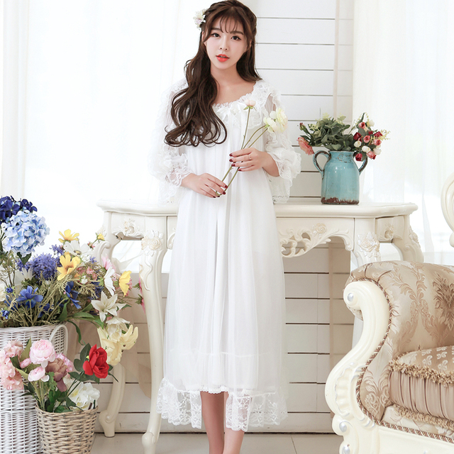 Lace Robe Set Spring Nightgown Two-piece Robe Set For Women Long-sleeved nightdress Sweet Princess Sleepwear Home Dress Lace