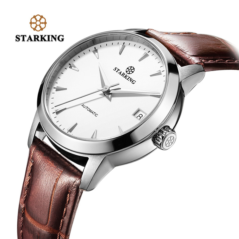 STARKING Genuine Leather Men's Mechanical Wristwatch Simple Luxury Date Analog Automatic Self Winding Watches relojes masculinos luxury men brand crystals dress watches self winding mechanical 316l band calendar wristwatch saphir relojes analog 3atm nw4239