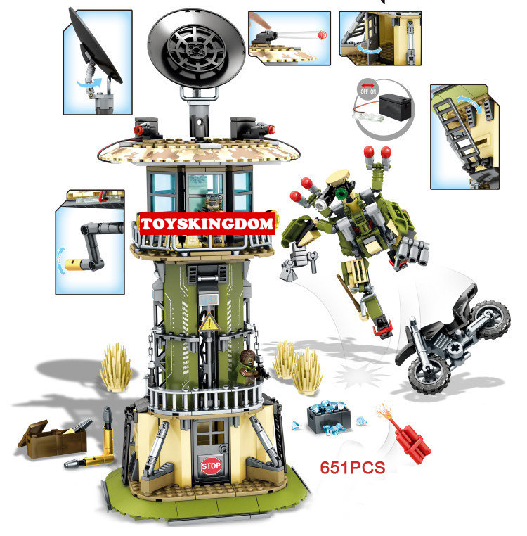 New modern military camp observation tower building block with light army figures robot motorcycle bricks toys for boys gifts