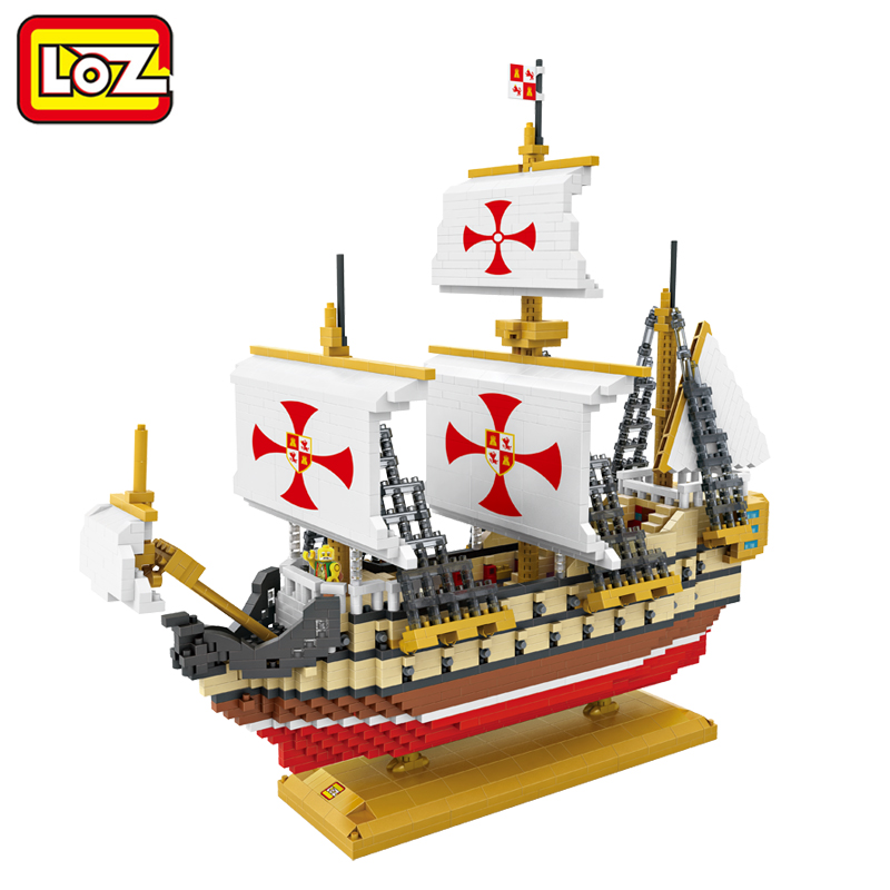 LOZ 2660PCS Columbus Fleet Sailing Ship Santa Maria Barque Barkentine Sailboat 3D Model Toy Diamond Block For Ages 14+ voyager 2 4g mini rc sailboat sailing yacht educational toy ready to run enjoy sailing fun