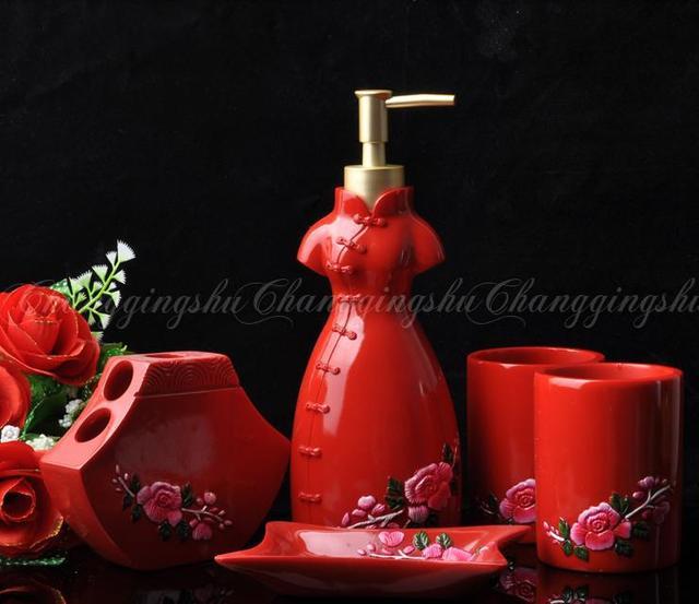 red bathroom accessories kit set bathroom set five pieces set marriage