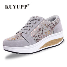 Dropship Fashion Loss Weight Women Casual Shoes 2017 Spring Swing Female Leather Sport Women Shoes Platform Wedge Trainers YD134