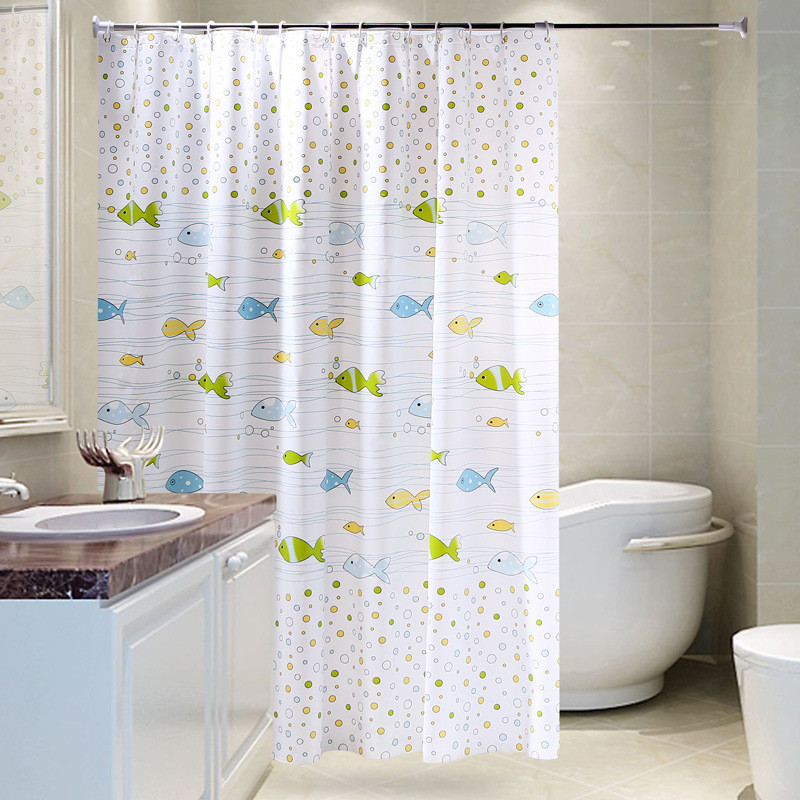 New Cute Cartoon Bubble Fish Shower Curtain Green Waterproof And Mildew Shower Partition Shower