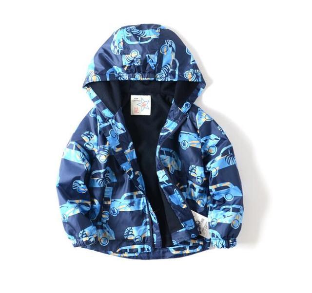 2016 New Baby Cartoon Car Coat Boys Add wool hooded jacket Children Cartoon windbreaker wholesale