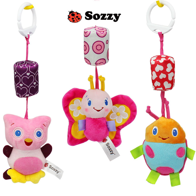SOZZY Baby Rattle Toys Baby Bed Bells Plush Animal Shape Hanging Bell Wind Chimes Crib Stroller Infant Toddler newborn Toys