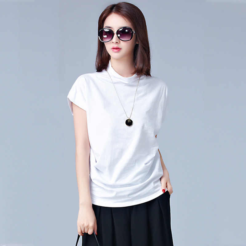 7e31c39547750 2019 Sring Summer 100% Cotton Blouse Short Sleeve Casual Fashion Women  White Shirt Loose Tops