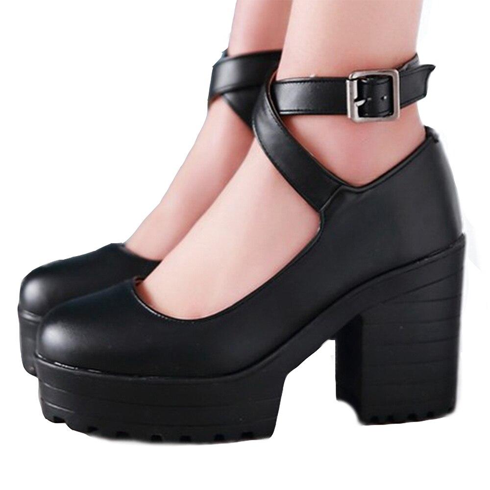 Grande Taille Hauts Étudiants 43 Femmes Chaussures En Shose Rond Xemonale Bout Sandales rouge 34 blanc Noir Sangle Véritable Talons Boucle Cuir Dames pS6Znav