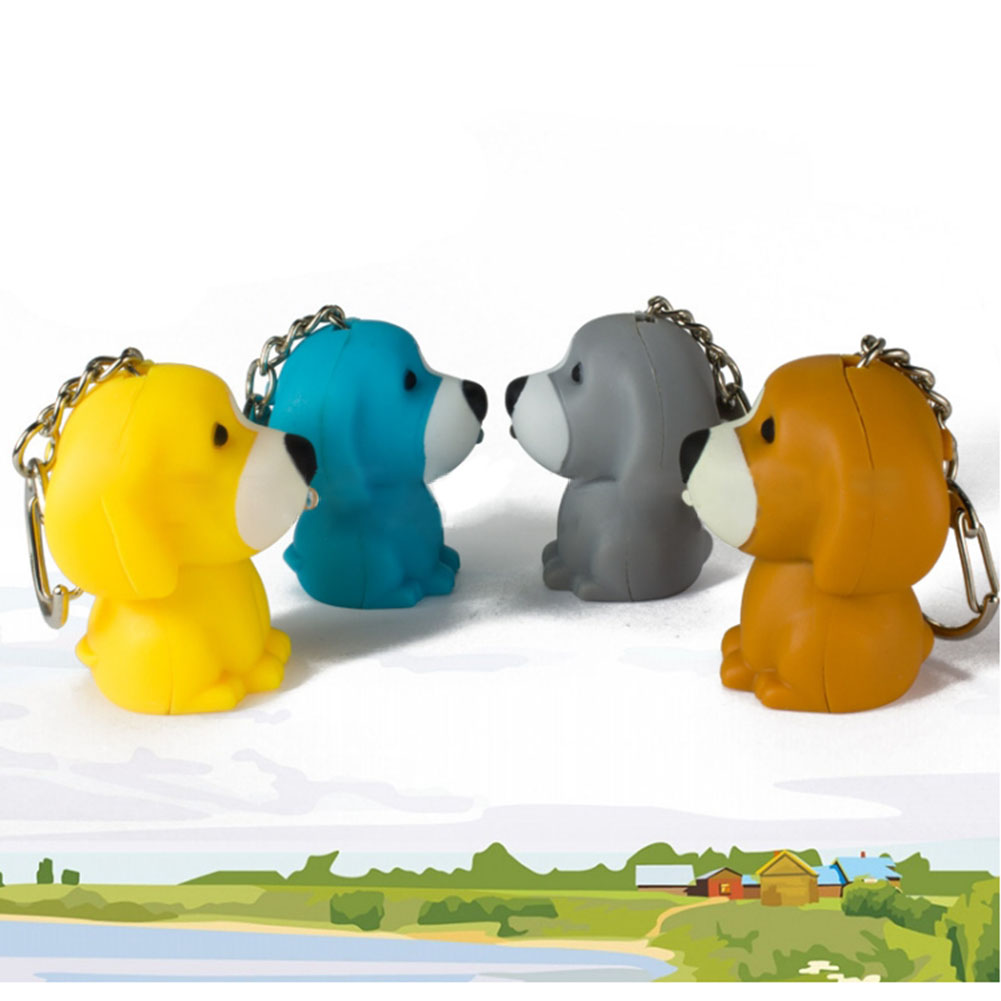 New arrive Cartoon 3D Key ring with sound Toy Christmas children gift Puppy dog Led keychain new toy