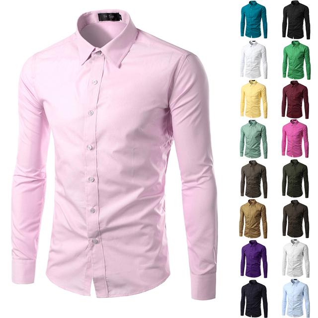 Solid Color Chemise Men Shirt Long Sleeve Slim Fit