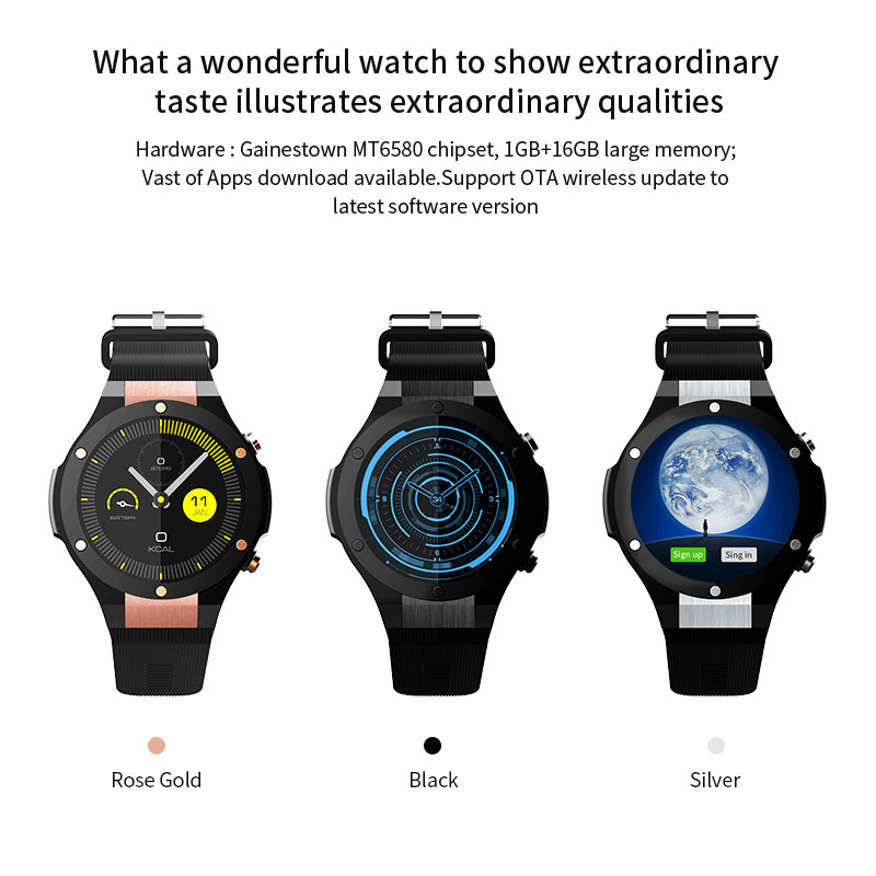 H2 IP68 Waterproof Smart Watch MTK6580 1.39inch 400*400 GPS Wifi 3G Heart Rate Monitor 16GB+1GB For Android IOS 5.0M Camera 500W