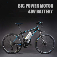 24 Inches 48V Lithium Battery 500 Watts Electric MTB E Bike, 27 Speed Electric Bicycle,adopt Oil Disc Brakes,Suspension Fork