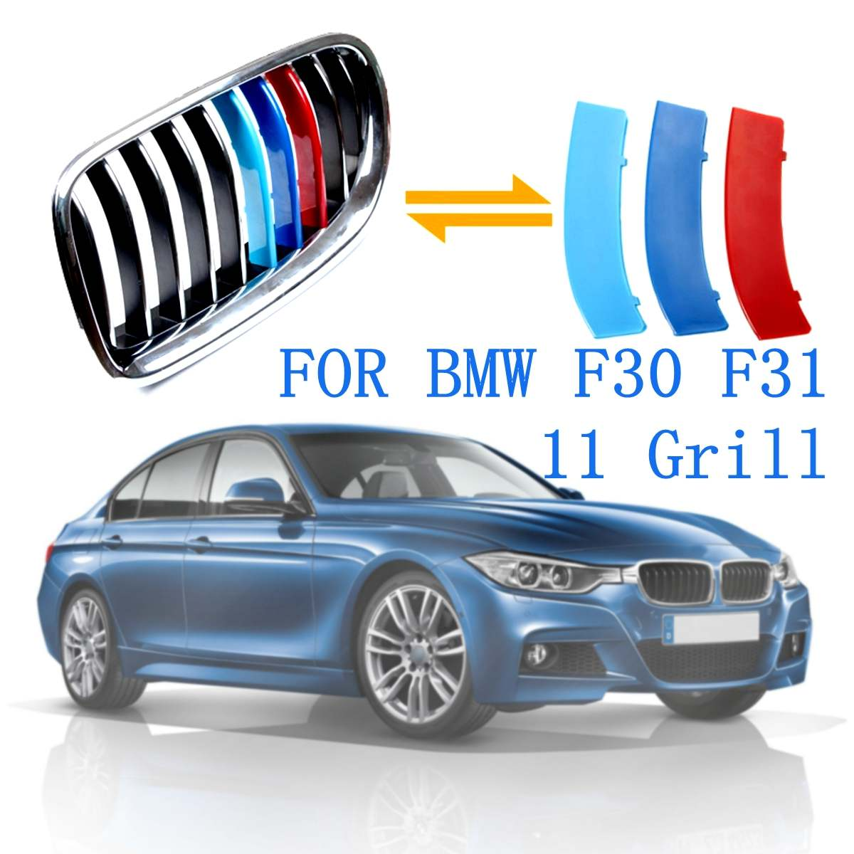 3pcs Car Front Grille Cover Trim Strips <font><b>Sticker</b></font> For <font><b>BMW</b></font> 3 Series F30 <font><b>F31</b></font> 2013 2014 2015 2016 2017 image