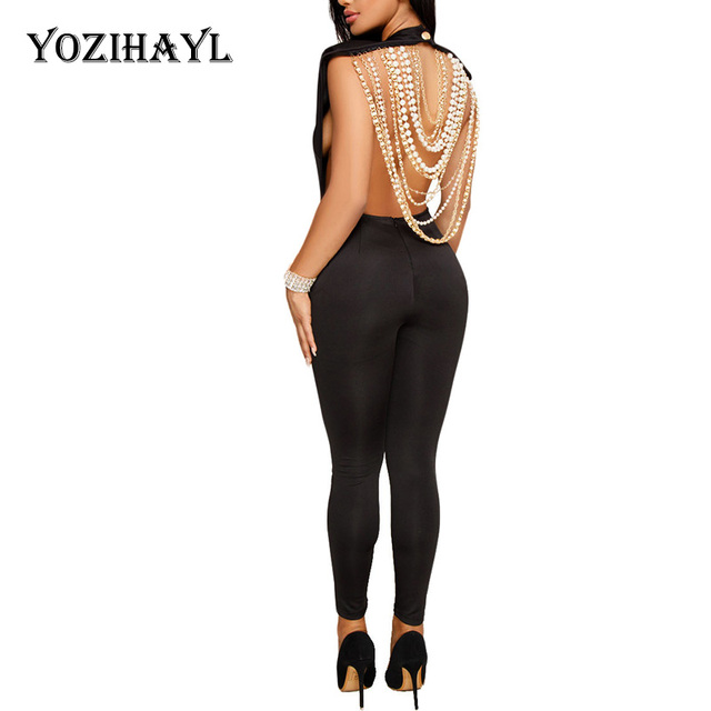 cdc90d854a Yozihayl Sexy Backless Club Party Jumpsuit Women Pearl Beading Embellished  Jumpsuit Sleeveless Open Back Bodycon Bling Jumpsuit