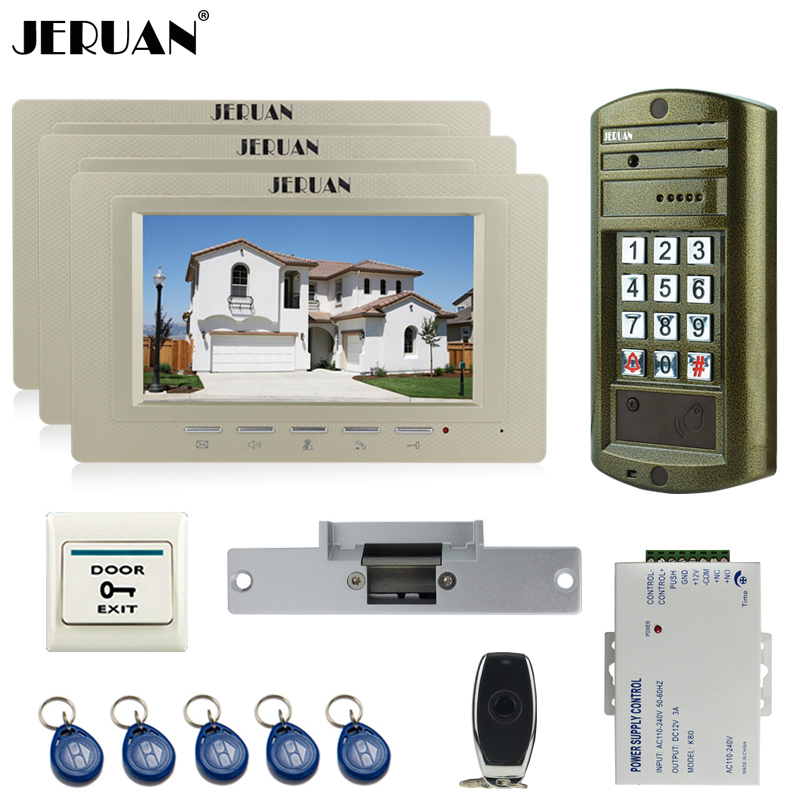 JERUAN Wired 7`` LCD Color Video Door Phone Intercom System kit 3 Monitor +NEW Metal Waterproof Password HD Mini Camera +Power