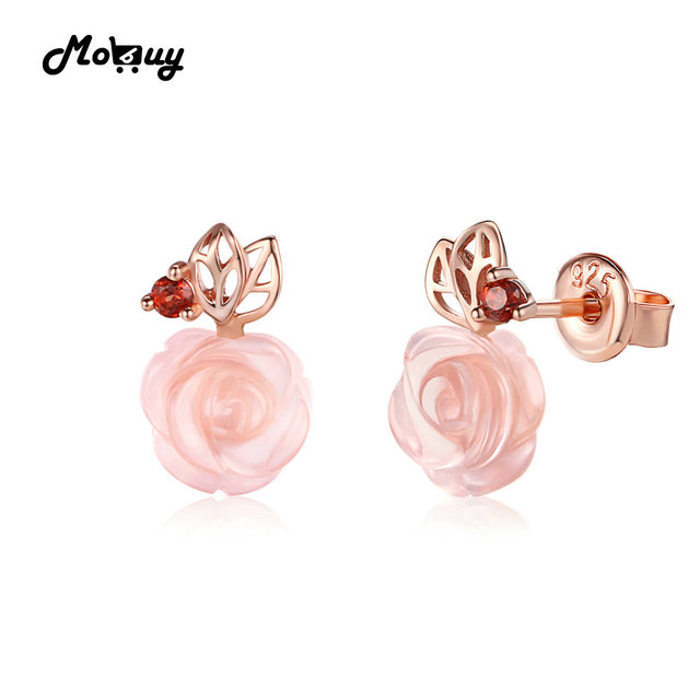 Mo Mbei015 Cute Flower Cut Natural Gemstone Rose Quartz Stud Earrings 925 Sterling Silver Gold Plated